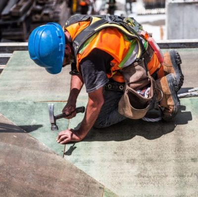 Construction operative working on a construction site.